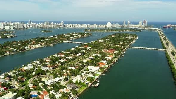 Luxury Homes On Palm Island Miami Aerial Drone 4k