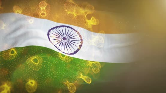 Thumbnail for India Flag With Corona Virus Bacteria