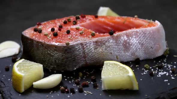 Grilled Salmon Steak with Spices Garlic and Lemon