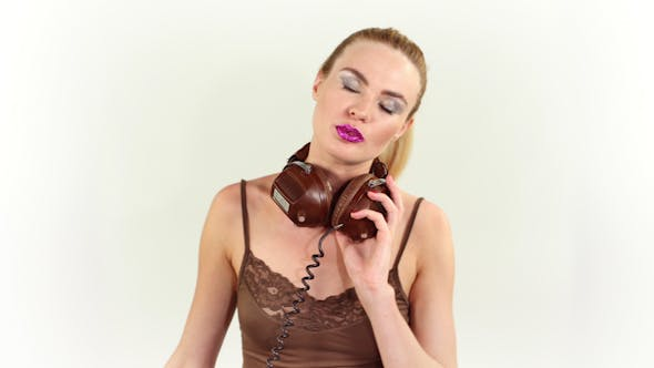 Sexy Blonde Model Headphones 1