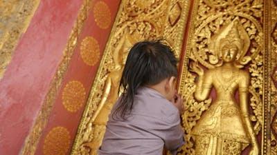 Little Boy Respect Buddha
