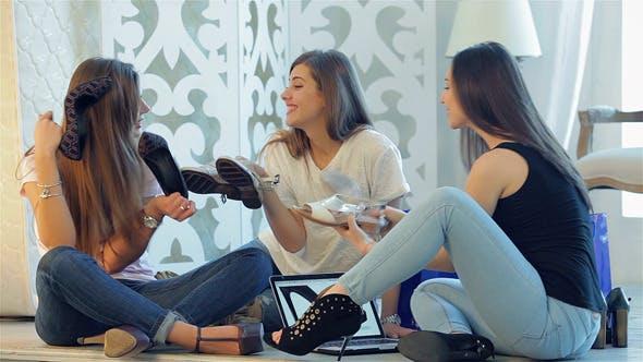 Three Girlfriends Enjoyed Fashionable Shoes