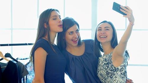 Girls Make Selfie After Successful Shopping