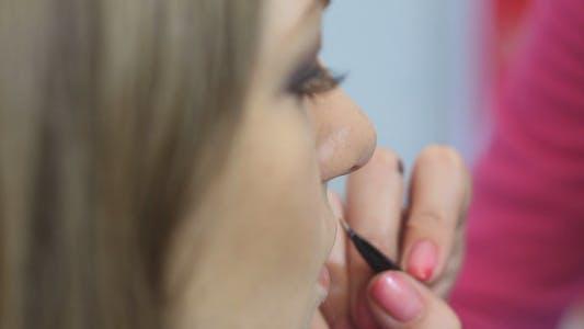 Makeup Artist Apply Makeup to the Lips