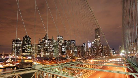 Thumbnail for Brooklyn Bridge At Night New York Manhattan 2
