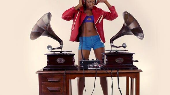 Thumbnail for Stylish Female Dj Retro Gramophones 8
