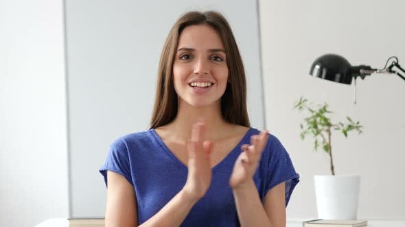 Thumbnail for Applauding Beautiful Woman, Clapping for Team