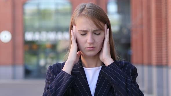 Thumbnail for Headache, Portrait of Tense Businesswoman in Office