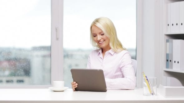 Thumbnail for Smiling Businesswoman Or Student With Tablet Pc