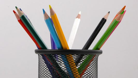 Pencils in a Box On White Background 1