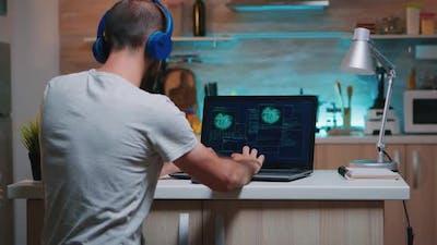 Male Hacker Failing in Coding a Dangerous Virus