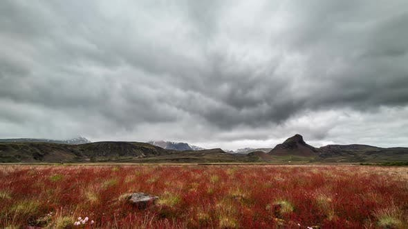 Thumbnail for Dramatic Clouds over Iceland Mountains and Red Meadow