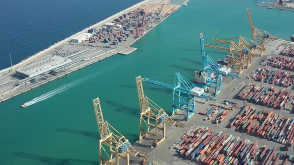 Thumbnail for Aerial View of Modern Industrial Port in Barcelona
