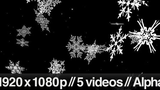 Thumbnail for Large Snow Flakes Falling - Series of 5 + Loop