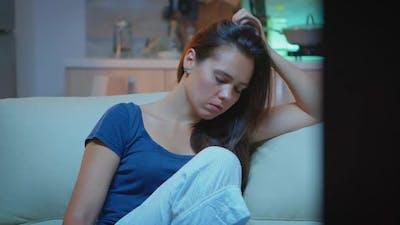 Tired Woman Closing Eyes