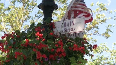 Red Flowers Hanging On Sign For Main Street