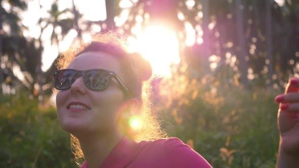Girl Dancing At Sunset. Slow Motion.