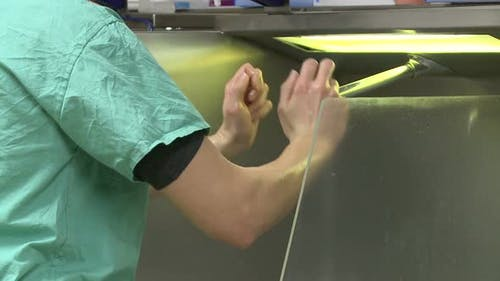 Surgeon Scrubbing For Surgery