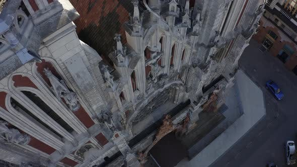Top Aerial View of Roman Catholic Church of St. Nicholas Also a National House of Organ and Chamber