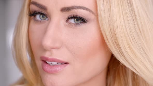 Thumbnail for Pretty Blond Woman Face With Gray Eyes 2