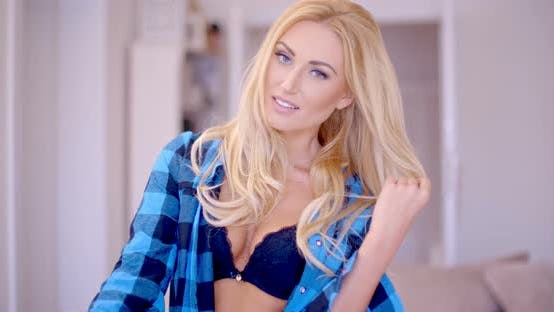 Thumbnail for Sexy Happy Woman In Open Shirt Showing Cleavage 1