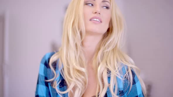 Thumbnail for Sexy Happy Woman In Open Shirt Showing Cleavage 2