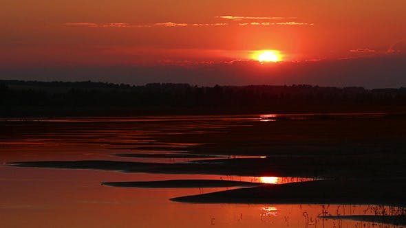 Thumbnail for Beautiful Orange Sunset With Wave River Sand Beach