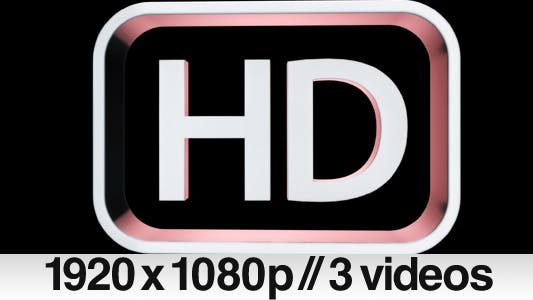 Thumbnail for 3 HD High Definition 3D symbol / logo / text