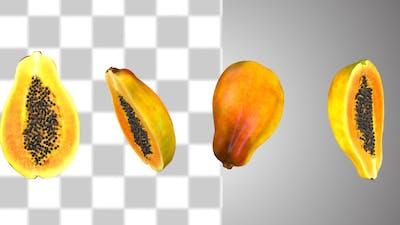 Half Cut Papaya Fruits