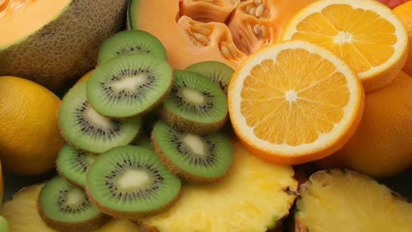 Thumbnail for Fresh fruits background, fly over