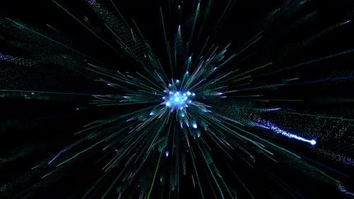 Fireworks of blue particles