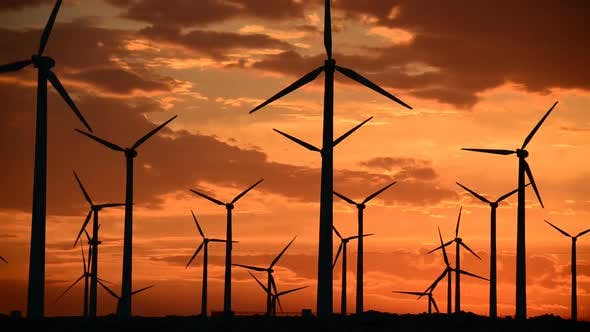Cover Image for Power Windmills In The California Desert At Sunset