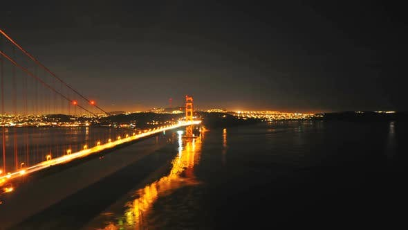 Thumbnail for The Golden Gate Bridge At Night San Francisco - Clip 1