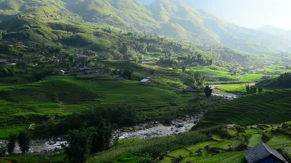 Thumbnail for Clouds And Shadows Passing Over A Valley Of Rice Terraces In Sapa Vietnam