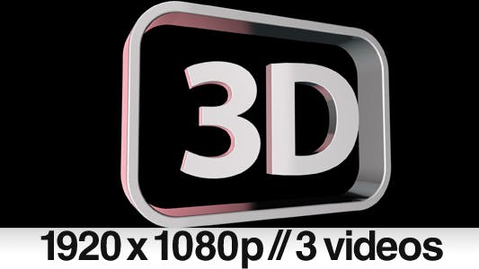 "Thumbnail for three "" 3D "" symbol / logo / text / word / sign"