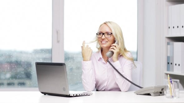 Cover Image for Smiling Woman Or Secretary Calling On Telephone