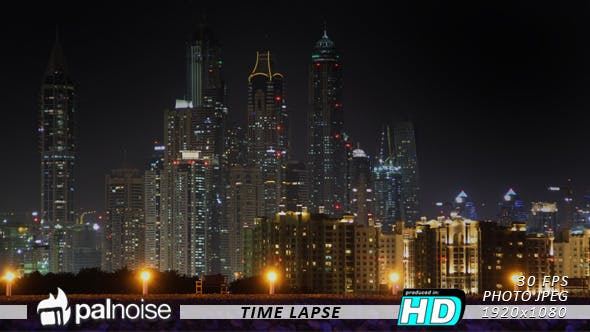 Cover Image for Dubai Night Skyline From The Palm