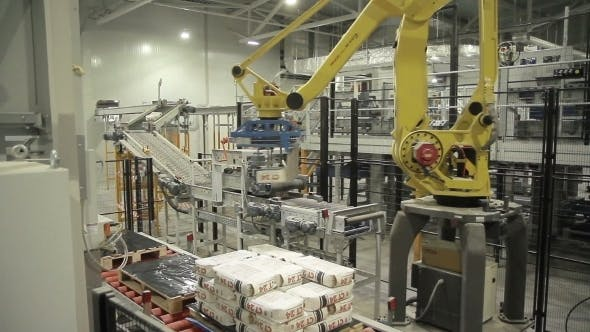 Thumbnail for Articulated Robotic Arm At Packaging Line In