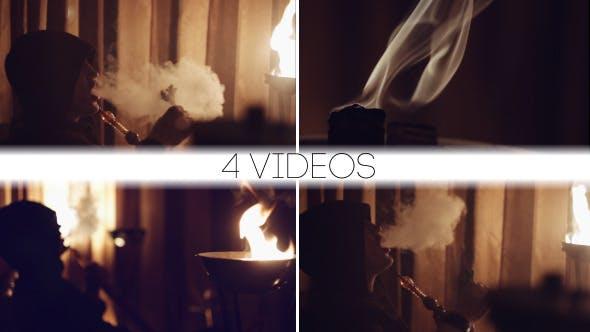 Thumbnail for Mystic Man Smokes a Hookah (4 videos)