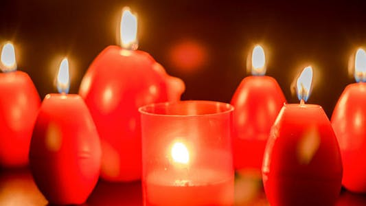 Thumbnail for Red Easter Egg Shape Candles Burning