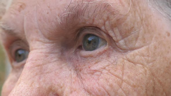 Thumbnail for Close Up Wrinkled Face of Old Grandmother Looking Into the Distance with a Sad Sight
