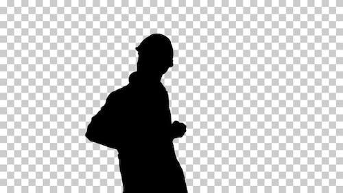 Silhouette man dancing, Alpha Channel