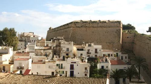 View Over Villas And Old Wall In Ibiza Town