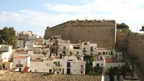 Thumbnail for View Over Villas And Old Wall In Ibiza Town