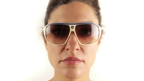 Thumbnail for Stopmotion Of A Pretty Woman Wearing Different Retro Sunglasses 1