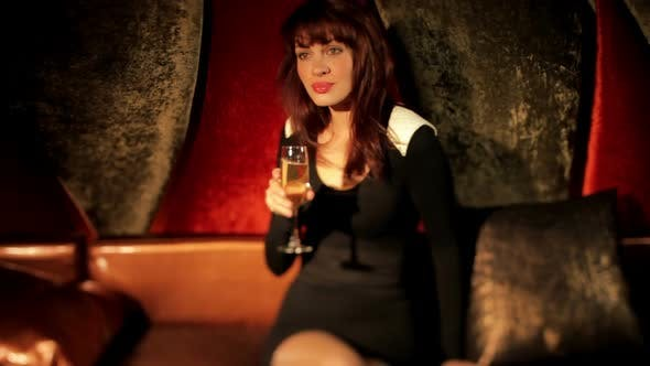 Thumbnail for Beautiful Classic Pin-Up Girl In A Vip Club Drinking A Cocktail Posing And Dancing 19