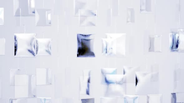 Thumbnail for Cool Metal Shapes Hanging On Wall And Moving,With Reflection From Sunlight 2