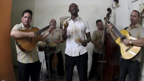 The Cuban Band Eco Caribe Filmed Performing In Havana. All Band Members Are Model Released. 1