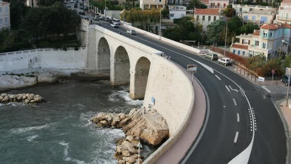 Thumbnail for Long Exposure Time-Lapse Shot Of Traffic On The Bend In The Corniche Road, Marseilles