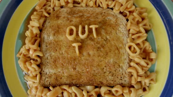Thumbnail for Stop Motion Animation With Spaghetti Letters On Toast Spelling Out To Lunch